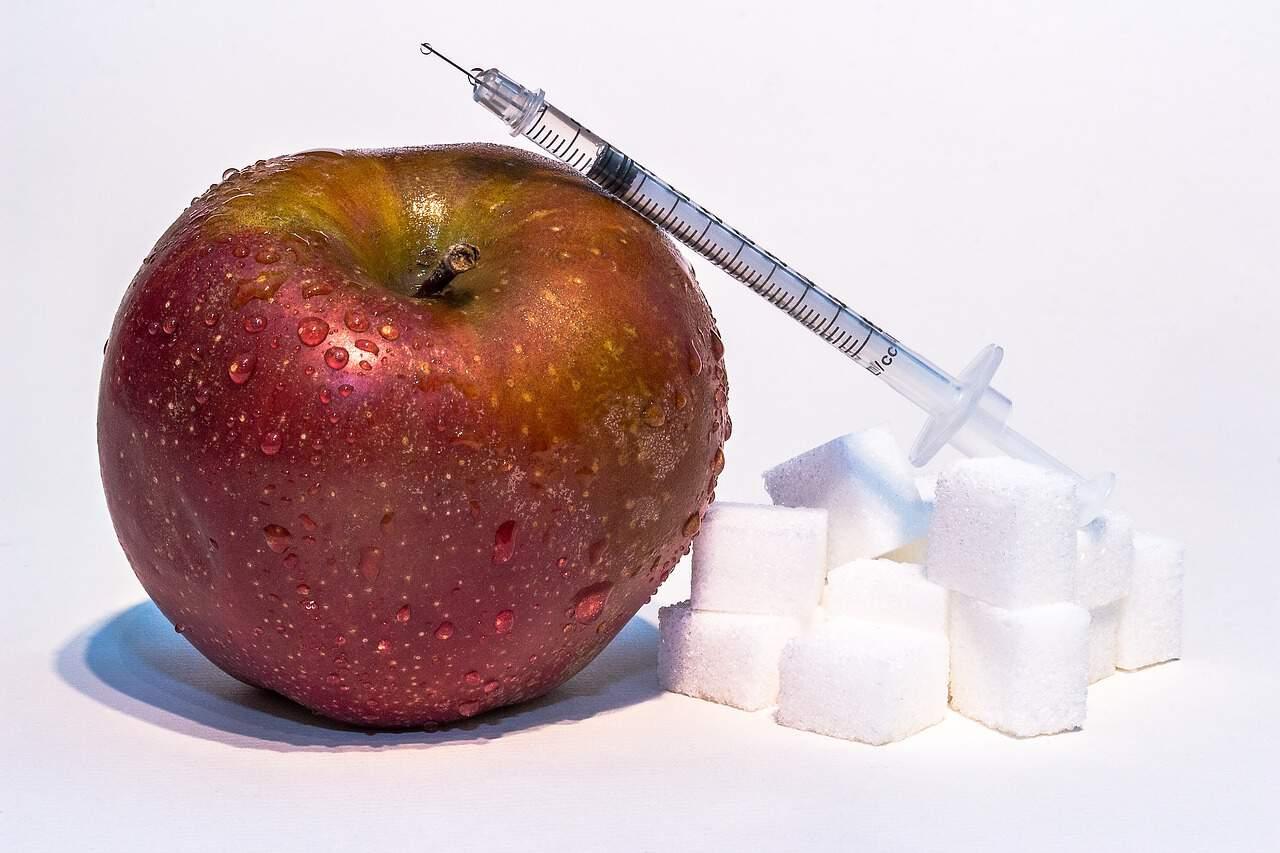 cukrzyca, strzykawka, cukier, jabłko